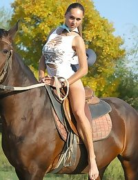 Unmask remarkable big-busted Alena riding charger